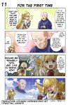 1girl 2boys 4koma bald blonde_hair blue_sky braid brown_gloves clenched_hand cloud comic crown_braid crying eyes_closed faceless faceless_male fire_emblem fire_emblem:_monshou_no_nazo fire_emblem_heroes gloves green_eyes hands_together highres hood interlocked_fingers juria0801 long_hair long_sleeves multicolored_hair multiple_boys official_art open_mouth riff_(fire_emblem) sharena sky smile summoner_(fire_emblem_heroes) tears translated
