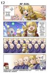 2boys 2girls 4koma anna_(fire_emblem) bald blonde_hair blue_sky blush braid brown_gloves clenched_hand cloud comic crown_braid eyes_closed faceless faceless_male fire_emblem fire_emblem:_monshou_no_nazo fire_emblem_heroes flower gameplay_mechanics gloves green_eyes highres hood juria0801 long_hair long_sleeves multicolored_hair multiple_boys multiple_girls official_art open_mouth red_hair riff_(fire_emblem) sharena sky smile summoner_(fire_emblem_heroes) translated