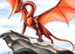 1997 claws dragon feral horn krahnos_(artist) scalie sky solo western_dragon wings