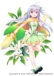 1girl :d bangs blush bobby_socks breasts brown_eyes choker cleavage commentary_request eyebrows_visible_through_hair flower flower_knight_girl full_body gloves green_footwear green_shirt green_skirt hair_between_eyes hand_up lemon_(flower_knight_girl) long_hair medium_breasts object_namesake official_art one_side_up open_mouth shirt shoes silver_hair skirt smile socks solo standing standing_on_one_leg strapless usashiro_mani very_long_hair vest white_background white_flower white_legwear white_vest yellow_cape yellow_choker yellow_gloves
