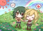 2girls :< :d ^_^ abukuma_(kantai_collection) animal animal_print bear_print black_legwear black_skirt blonde_hair blue_flower blue_shorts blue_sky blush boots brown_footwear brown_hoodie bush butterfly closed_mouth cloud commentary_request day drawstring eyes_closed flower green_eyes green_hair hand_holding heart heterochromia hood hood_down hoodie kantai_collection kiso_(kantai_collection) komakoma_(magicaltale) loafers long_sleeves looking_at_viewer multiple_girls open_mouth outdoors pantyhose plaid plaid_skirt pleated_skirt purple_footwear rainbow red_flower romaji shirt shoes short_shorts shorts skirt sky smile spoken_blush spoken_heart sun thighhighs white_flower white_shirt yellow_eyes yellow_flower