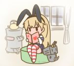 animal_ears blush bunny_ears curse_(023) curtains dated headband heart heater kantai_collection letter long_hair long_sleeves postcard pot rensouhou-chan shimakaze_(kantai_collection) sitting skirt striped striped_legwear uniform window