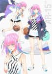 1girl ball bangs bare_shoulders basketball basketball_jersey black_bra black_shorts blue_eyes blush bra bra_peek breasts character_name closed_mouth clothes_pull collarbone duffle_bag eyebrows_visible_through_hair floating_hair girls_frontline hair_between_eyes hair_ornament half-closed_eyes hand_in_pocket highres holding holding_ball jacket ladic long_hair looking_at_viewer multicolored_hair multiple_views nike no_socks one_side_up open_mouth pink_hair running short_shorts shorts side_ponytail sidelocks simple_background small_breasts solo st_ar-15_(girls_frontline) strap sweat sweatdrop thighs underwear white_background wristband