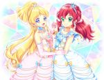 2girls aikatsu! aikatsu_friends! aqua_eyes asuka_mirai_(aikatsu_friends!) blonde_hair blue_bow blue_dress blush bow commentary crown dress elbow_gloves frilled_sleeves frills gloves grin hairband highres jewelry kamishiro_karen long_hair looking_at_viewer multiple_girls necklace open_mouth pink_dress ponytail purple_eyes red_hair shirato_sayuri smile strapless strapless_dress tiara twintails wrist_cuffs yellow_bow