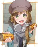 1girl :d bangs blush brown_hair can canned_coffee commentary_request fang georgia_max_coffee green_eyes hair_ornament hair_scrunchie hat inuyama_aoi konnyaku_(kk-monmon) long_sleeves looking_at_viewer open_mouth scarf scrunchie smile solo thick_eyebrows yurucamp