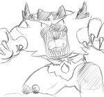 ambiguous_gender avian duo feline incineroar mammal monochrome nintendo open_mouth pokémon pokémon_(species) rowlet simple_background size_difference sketch teeth tongue unknown_artist video_games white_background