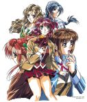 1998 5girls 90s aoki_chisa blue_eyes blue_hair brown_eyes brown_hair copyright dated doukoku_soshite green_eyes hand_on_own_chest hand_to_own_mouth hatori_itsumi highres jacket long_hair long_sleeves low-tied_long_hair multiple_girls norma_wendy official_art open_clothes open_jacket open_mouth parted_lips plaid plaid_skirt pleated_skirt profile red_hair sasamoto_riyo school_uniform shirakawa_kosuzu simple_background skirt thick_eyebrows twintails white_background yokota_mamoru