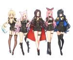 5girls ahoge animal_ears black_footwear black_gloves black_hair black_legwear black_neckwear black_skirt blonde_hair blue_eyes blue_hair blush boots breasts cat_ears character_request choker cleavage closed_mouth collarbone copyright_request eyebrows_visible_through_hair fingerless_gloves full_body garter_straps gloves green_eyes hairband knee_boots large_breasts long_hair looking_at_viewer medium_breasts multicolored_hair multiple_girls necktie pink_hair purple_eyes red_eyes skirt smile standing thighhighs tp_(kido_94) two-tone_hair