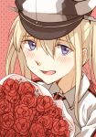 1girl :d asakawa_shinka blonde_hair blue_eyes blush bouquet collared_shirt dotted_background eyebrows_visible_through_hair flower graf_zeppelin_(kantai_collection) hair_between_eyes hair_tie hat kantai_collection long_hair looking_at_viewer military military_hat necktie open_mouth peaked_cap red_background red_flower shirt sidelocks smile solo twintails upper_body white_shirt