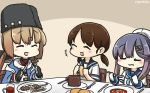 3girls black_hat blue_shawl blush bread brown_hair chair commentary dated eating eyes_closed fingerless_gloves food fork gloves gradient_hair hair_ornament hairclip hamu_koutarou hat highres holding holding_food kantai_collection knife low_twintails multicolored_hair multiple_girls open_mouth papakha plate sailor_collar sailor_hat school_uniform serafuku shirayuki_(kantai_collection) table tashkent_(kantai_collection) tsushima_(kantai_collection) twintails