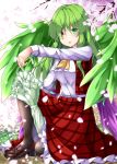 1girl aka_tawashi ascot black_legwear blush breasts brown_footwear commentary_request eyebrows_visible_through_hair feathered_wings floral_background flower green_eyes green_hair green_wings heterochromia highres kazami_yuuka kazami_yuuka_(pc-98) long_hair long_sleeves looking_at_viewer medium_breasts one_knee pantyhose parted_lips petals petticoat pink_flower plaid plaid_skirt plaid_vest red_eyes red_skirt red_vest shirt shoes skirt solo touhou touhou_(pc-98) umbrella vest white_shirt wings yellow_neckwear