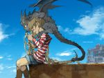 boots brown_hair clouds demizu_posuka dragon hoodie long_hair original sky watermark