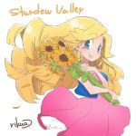 1girl bare_arms blonde_hair blue_eyes blue_vest blush closed_mouth copyright_name dress eyebrows eyebrows_visible_through_hair facing_away floating_hair flower haley_(stardew_valley) holding holding_flower long_hair open_clothes open_vest petals pink_dress rikuo_(whace) signature simple_background smile solo stardew_valley sunflower vest white_background yellow_flower