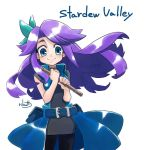 1girl abigail_(stardew_valley) aqua_ribbon bare_arms bare_shoulders belt belt_buckle black_legwear blue_belt blue_coat blue_eyes breasts buckle choker closed_mouth coat copyright_name cowboy_shot dress eyebrows floating_hair flute grey_choker grey_dress hair_ribbon holding holding_instrument instrument legs_apart long_hair looking_at_viewer medium_breasts open_clothes open_coat pantyhose pouch purple_hair ribbon rikuo_(whace) short_dress sidelocks signature simple_background single_hair_intake sleeveless sleeveless_coat sleeveless_dress smile solo standing stardew_valley white_background