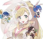 alfonse_(fire_emblem) animal_ears artist_request blonde_hair blue_eyes blue_hair blush braid breasts brown_eyes brown_hair bunny_ears bunnysuit cape cleavage elbow_gloves fire_emblem fire_emblem:_monshou_no_nazo fire_emblem_heroes fire_emblem_if gloves green_eyes hair_over_one_eye headband kagerou_(fire_emblem_if) katua large_breasts long_hair looking_at_viewer multicolored_hair multiple_girls ninja open_mouth pegasus_knight ponytail sharena short_hair simple_background smile white_background