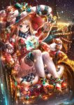 1girl :o arm_up bangs bare_shoulders black_eyes black_gloves blue_bow blue_eyes blue_ribbon blue_scarf blush bow box breasts brown_hair carriage christmas christmas_lights christmas_ornaments cityscape cleavage commentary creature dress fingerless_gloves full_body fur-trimmed_jacket fur_trim gem gift gift_box gloves hakura_kusa hand_up hat holding holding_sack holding_wand jacket knees_up large_breasts light_trail long_hair long_sleeves looking_down magic night night_sky off_shoulder open_clothes open_jacket original outstretched_hand plaid plaid_scarf print_legwear red_dress red_footwear red_hat red_jacket reindeer ribbon sack santa_hat scarf shiny shiny_hair short_dress sidelocks signature sitting sky snowing straight_hair strapless strapless_dress striped striped_ribbon sweat swept_bangs thick_eyebrows thigh_ribbon thighhighs tower v-shaped_eyes wand white_legwear yellow_ribbon