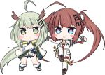 2girls :> :< ahoge anshan_(azur_lane) azur_lane bailingxiao_jiu bangs blue_eyes blush boots braid brown_footwear brown_hair cape chibi closed_mouth commentary_request cross-laced_footwear detached_sleeves dress epaulettes eyebrows_visible_through_hair fu_shun_(azur_lane) green_eyes green_hair hair_ornament heart heart-shaped_pupils horns lace-up_boots long_hair long_sleeves looking_at_viewer multiple_girls outstretched_arms parted_lips shoes short_dress sidelocks simple_background standing standing_on_one_leg symbol-shaped_pupils thighhighs triangle_mouth twintails very_long_hair white_background white_cape white_dress white_footwear white_legwear