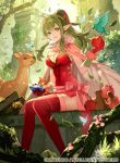 1girl apple bird breasts butterfly chiki cleavage cloak crystal deer fire_emblem fire_emblem:_kakusei fire_emblem:_monshou_no_nazo fire_emblem_cipher food fruit grass green_eyes green_hair leaf lens_flare nature pink_legwear pointy_ears sash sitting smile squirrel thighhighs tobi_(kotetsu) tree