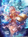 1girl bangle bare_shoulders blue_fire book bracelet circlet company_name detached_sleeves dress fire fire_emblem fire_emblem:_akatsuki_no_megami fire_emblem_cipher half_updo jewelry magic micaiah nij_24 official_art open_book outstretched_arm red_eyes ring silver_hair smile solo spoilers thighs yune
