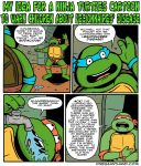 anthro bandanna belt comic english_text faucet humor leonardo_(tmnt) male michelangelo_(tmnt) onegianthand reptile scale scalie sewer speech_bubble teenage_mutant_ninja_turtles text turtle water