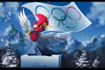 2018 avian bird black_bars blue_eyes day digital_media_(artwork) feathered_wings feathers feral kitchiki olympics outside pyeongchang_2018 sky smile snow snowing white_feathers wings
