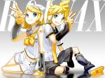 1boy 1girl aqua_eyes arm_tattoo arm_warmers back-to-back bass_clef blonde_hair bow brother_and_sister detached_sleeves foreshortening fortissimo full_body grin hair_ornament hairclip headphones kagamine_len kagamine_len_(vocaloid4) kagamine_rin kagamine_rin_(vocaloid4) leaning_back leaning_on_person leg_warmers looking_at_viewer nail_polish navel necktie number_tattoo piano_print sailor_collar sawashi_(ur-sawasi) shirt shoes short_hair shorts siblings sitting sleeveless sleeveless_shirt smile tattoo treble_clef twins v v4x vocaloid yellow_nails yellow_neckwear yokozuwari