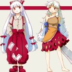 2girls arm_at_side armband arms_behind_back baggy_pants bangs bare_legs bare_shoulders barefoot beige_blouse blouse bow buttons c: closed_mouth collarbone commentary_request detached_sleeves dress eyebrows_visible_through_hair fujiwara_no_mokou full_body hair_bow hand_in_pocket hatchet holding katowo long_hair long_sleeves looking_at_another looking_to_the_side medium_dress multicolored multicolored_clothes multicolored_dress multiple_girls ofuda ofuda_on_clothes oriental_hatchet pants red_eyes red_footwear red_pants sakata_nemuno shoe_bow shoes single_strap smile suspenders touhou very_long_hair white_bow white_hair