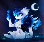 2018 blue_eyes cosmic_feathers cosmic_hair detailed_background digital_media_(artwork) dragon eyelashes feathered_dragon feathered_wings feathers female feral fur furred_dragon magnaluna paws sitting solo white_fur wings