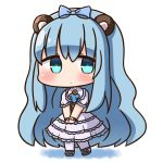 1girl animal_ears bangs bear_ears blue_bow blue_eyes blue_footwear blue_hair blush bow character_request chibi closed_mouth commentary_request eyebrows_visible_through_hair full_body hair_between_eyes hair_bow hana_kazari kirara_fantasia long_hair looking_at_viewer own_hands_together pantyhose puffy_short_sleeves puffy_sleeves short_sleeves solo standing v_arms very_long_hair white_background white_footwear white_legwear