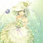 1girl bare_shoulders blush bouquet bow bridal_gauntlets collarbone curly_hair dress floating_hair flower green_eyes green_flower green_hair green_rose hat hat_bow highres jiinyo_(awamoe1207) komeiji_koishi looking_at_viewer open_mouth purple_flower purple_rose rose smile solo third_eye tiara touhou veil wedding_dress white_bow white_flower white_hat white_rose