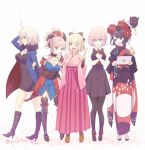 5girls ahoge asymmetrical_hair bare_shoulders black_dress black_footwear black_hair black_jacket black_legwear black_ribbon blue_eyes blue_jacket blue_kimono blush boots bow breasts coat commentary_request dango dress eyebrows_visible_through_hair eyes_visible_through_hair fate/grand_order fate_(series) flower food full-length_zipper fur-trimmed_coat fur-trimmed_jacket fur-trimmed_sleeves fur_collar fur_trim glasses hair_bow hair_flower hair_ornament hair_over_one_eye hair_ribbon high_heel_boots high_heels jacket japanese_clothes jeanne_d'arc_(alter)_(fate) jeanne_d'arc_(fate)_(all) katsushika_hokusai_(fate/grand_order) kimono knee_boots large_breasts leaf_print magatama mash_kyrielight medium_breasts miyamoto_musashi_(fate/grand_order) multiple_girls nichiru obi octopus okita_souji_(fate) one_eye_closed open_clothes open_coat open_jacket paintbrush pink_hair ponytail purple_eyes purple_hair red_neckwear ribbon sandals sash short_dress short_hair short_kimono sleeveless sleeveless_kimono smile thighhighs type-moon unsheathed wagashi wicked_dragon_witch_ver._shinjuku_1999 yellow_eyes zipper