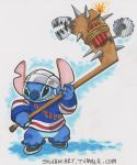 2013 4_fingers 4_toes alien armor bear_trap black_eyes blue_body blue_claws blue_nose bottomless buzzsaw claws clothed clothing disney dynamite experiment_(species) explosives helmet hockey hockey_stick holding_object ice_hockey ice_skates james_silvani jersey lilo_and_stitch new_york_rangers nhl sneer solo spikes sport stitch toes traditional_media_(artwork) trap_(contrivance) url