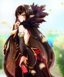 bare_back black_hair brown_eyes fate/grand_order gothic long_hair pointy_ears red_assassin