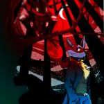 2018 clothing coat detailed_background digital_drawing_(artwork) digital_media_(artwork) duo forest fur greninja lonelycharart lucario moon night nintendo outside pokémon pokémon_(species) sky standing tongue tongue_out tree video_games