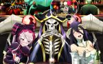 ainz_ooal_gown albedo black_hair blush cocytus_(overlord) demiurge demon_girl demon_horns gothic_lolita horns open_mouth overlord_(maruyama) sebas_tian silver_hair skeleton smile