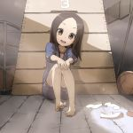1girl :d bangs barefoot basketball blue_jacket blue_shorts blush brown_eyes brown_hair collarbone commentary_request feet fingernails forehead gym_shirt gym_shorts gym_storeroom gym_uniform hands_on_own_knees head_tilt highres jacket karakai_jouzu_no_takagi-san long_hair looking_at_viewer open_clothes open_jacket open_mouth parted_bangs shirt shoes shoes_removed short_shorts short_sleeves shorts sitting smile socks_removed solo takagi-san takunama toenails track_jacket uwabaki vaulting_horse white_footwear white_legwear white_shirt