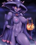 2018 areola breasts clothed clothing colored_nails digital_media_(artwork) female holding_object looking_at_viewer mismagius mleonheart nintendo nipples not_furry open_mouth pokémon pokémon_(species) pussy solo video_games