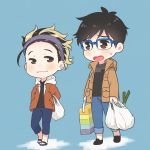 1boy 1girl bag black_hair blonde_hair blue-framed_eyewear brother_and_sister brown_eyes coat denim ear_piercing glasses hands_in_pockets jeans katsuki_mari katsuki_yuuri multicolored_hair open_mouth pants piercing ruei_(chicking) sandals shopping_bag siblings smile spring_onion two-tone_hair walking yuri!!!_on_ice