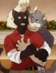 2015 5_fingers aluminemsiren anthro belt black_eyebrows black_fur black_tail cat cheek_tuft christmas christmas_decorations clothed clothing detailed_background digital_media_(artwork) duo eyebrows feline flying_sweatdrops front_view fur grey_fur grey_tail head_tuft holidays hug jace_(relar) male male/male mammal marcus_(relar) mistletoe multicolored_fur open_mouth pants pink_nose pink_tongue plant red_clothing red_eyes red_shirt red_topwear romantic_couple shirt smile standing surprise sweat sweatdrop teeth tongue tuft two_tone_fur white_fur