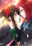 >:) 2girls black_hair blazer blue_neckwear bow bowtie eye_contact face-to-face green_neckwear hair_bow hand_up highres jacket long_sleeves looking_at_another love_live! love_live!_school_idol_project multiple_girls nishikino_maki open_mouth otonokizaka_school_uniform purple_eyes red_bow red_eyes red_hair rurika_seijin striped_neckwear sunset twintails upper_body yazawa_nico yuri