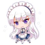 1girl :d apron azur_lane bangs belfast_(azur_lane) blue_dress blue_footwear blush braid chibi commentary_request dress elbow_gloves eyebrows_visible_through_hair frilled_apron frilled_dress frills full_body gloves head_tilt long_hair looking_at_viewer maid maid_headdress noai_nioshi open_mouth pantyhose purple_eyes silver_hair smile solo standing very_long_hair waist_apron white_apron white_background white_gloves white_legwear