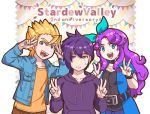 1girl 2boys :d abigail_(stardew_valley) anniversary aqua_ribbon bangs belt belt_buckle black_belt black_choker black_shirt blonde_hair blue_coat blue_eyes blue_jacket breast_pocket buckle buttons choker coat collarbone copyright_name double_v earrings eyebrows eyebrows_visible_through_hair frown hair_between_eyes hair_ribbon hood hood_down hoodie jacket jewelry long_sleeves looking_at_viewer multiple_boys open_clothes open_coat open_jacket open_mouth orange_shirt pocket purple_eyes purple_hair purple_hoodie ribbon sam_(stardew_valley) sebastian_(stardew_valley) shirt short_sleeves smile stardew_valley sweatdrop tanagawa_makoto teeth text tongue v v-shaped_eyebrows wavy_hair wristband