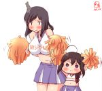 2girls :3 ahoge black_hair blue_eyes blush breasts cheerleader commentary_request dated hair_ornament hair_over_shoulder highres kanon_(kurogane_knights) kantai_collection large_breasts leaning_forward logo long_hair midriff multiple_girls navel no_nose pleated_skirt pom_poms purple_skirt red_eyes shigure_(kantai_collection) simple_background skirt standing white_background yamashiro_(kantai_collection) younger