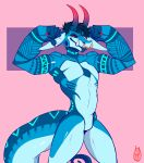 2018 5_fingers absurd_res anthro biceps biped blue_eyes blue_hair blue_horn blue_markings blue_skin claws collarbone cyan_markings digital_drawing_(artwork) digital_media_(artwork) dragon ear_piercing facial_piercing fangs featureless_crotch fist flexing front_view gauged_ear gradient_horn hair half-closed_eyes hi_res horn long_ears looking_away male markings muscular muscular_male navel_rim nose_piercing nose_ring nude open_mouth open_smile pecs piercing pink_background portrait red_claws red_horn ryarik scalie septum_piercing short_hair simple_background smile snout solo standing three-quarter_portrait toony tusks two_tone_horn watermark zylen_(fluffymonstersroar)