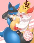 2018 anthro big_breasts blue_body blush braixen breast_squish breasts canine duo eyes_closed female female/female hand_on_breast lucario mammal nintendo nipples open_mouth pokémon pokémon_(species) pussy_juice sweat tagme tongue tongue_out unknown_artist video_games