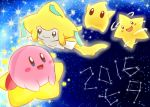 2016 :d black_eyes blue_eyes blush_stickers chiko_(mario) closed_mouth commentary commentary_request creature facial_mark gen_3_pokemon green_eyes happy jirachi kirby kirby_(series) looking_at_viewer looking_away night night_sky nintendo no_humans open_mouth pink_skin pokemon pokemon_(creature) rophy sky smile star star_(sky) starry_sky tanabata warp_star white_skin yellow_skin
