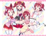 4girls :> a.i._channel alternate_hairstyle animal_ears ankle_strap aqua_eyes arm_behind_back arm_warmers armpits bangs bell black_footwear blush blush_stickers bonnet bow bowtie candy cat_ears cleavage_cutout commentary_request cosplay covering covering_breasts d-pad d-pad_hair_ornament detached_sleeves dress food hair_ornament headband highres holding_bird jingle_bell kaguya_luna kaguya_luna_(character) kaguya_luna_(character)_(cosplay) kemomimi_vr_channel kizuna_ai kizuna_ai_(cosplay) kurosawa_ruby lace_border lollipop looking_at_viewer love_live! love_live!_sunshine!! mikoko_(kemomimi_vr_channel) mikoko_(kemomimi_vr_channel)_(cosplay) mochi_hiyo mochi_hiyo_(cosplay) multiple_girls multiple_persona pleated_skirt red_hair red_neckwear red_skirt ribbon-trimmed_legwear ribbon_trim rinne_(mizunosato) sailor_collar skirt socks star starry_background striped striped_background striped_neckwear thighhighs twintails two_side_up v-shaped_eyebrows vertical-striped_background vertical_stripes virtual_youtuber white_legwear wrist_cuffs yellow_dress