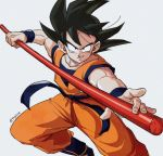 1boy black_eyes black_hair boots commentary_request dougi dragon_ball dragonball_z fighting_stance fingernails grey_background image_sample looking_at_viewer male_focus nyoibo shaded_face short_hair simple_background smile son_gokuu spiked_hair tkgsize twitter_sample twitter_username wristband