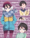 1girl :d ^_^ black_hair blue_eyes checkered checkered_scarf chikuwa_(yurucamp) commentary_request down_jacket eyes_closed hat hidejiu jacket messy_hair open_mouth pantyhose pillow saitou_ena scarf short_hair smile striped striped_background translation_request yurucamp