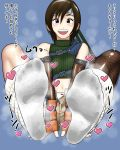 1girl blue_eyes blush brown_hair feet final_fantasy final_fantasy_vii fingerless_gloves fishnets headband highres looking_at_viewer loose_socks open_mouth open_shorts pantyshot pov pov_feet shorts smell socks soles steam translated white_legwear yuffie_kisaragi